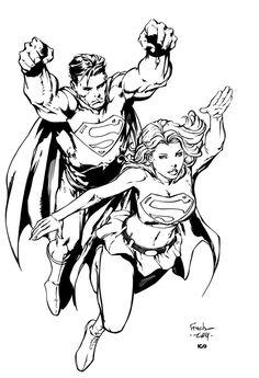 Superman & Supergirl by David Finch Cartoon Drawings, Cool Drawings, Cartoon Art, Drawing Sketches, Comic Book Drawing, Comic Books Art, Comic Art, Superman Action Comics, David Finch