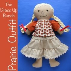 Prairie Outfit - easy skirt and shirt pattern for Dress Up Bunch dolls from Shiny Happy World