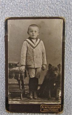 1915 German CDV Photo Card Little Boy With Dog Keeshond Spitz