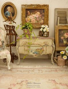 Marie-Antoinette chest of drawers Distressed by AtelierMiniature