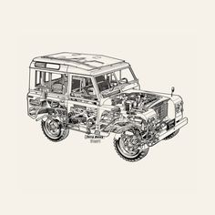 Land Rover Defender print from the Haynes auto repair manual. Land Rover is discontinuing the Defender in December.