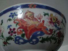 18thc Qianlong Jiaqing Qing dynasty Famille rose porcelain bowl feature dog lion