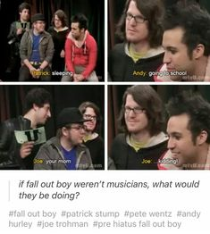 Joe, c'mon, really<<<<<are we not gonna talk about how relatable Patrick is tho Emo Bands, Music Bands, Fall Out Boy Memes, Pete Wentz, Music Memes, Band Memes, Panic! At The Disco, Pop Punk, Falling Down