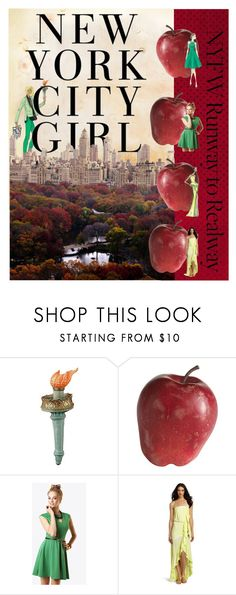 """""""Big Apple Girl"""" by couldbecassie ❤ liked on Polyvore featuring Tracy Reese, H&M, Pier 1 Imports, Rachel Roy, Barbara Tfank, Woodleigh, apple, green, statue of liberty and skyline"""