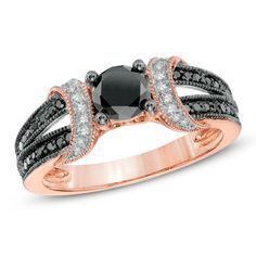 1 CT. T.W. Enhanced Black and White Diamond Collar Engagement Ring in 10K Rose Gold via Zales