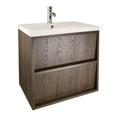 Slant 600 wall hung unit & basin - walnut | bathstore