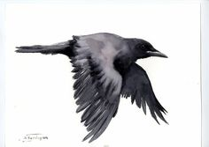 Hey, I found this really awesome Etsy listing at https://www.etsy.com/listing/386393436/flying-crow-16-x-12-original-watercolor