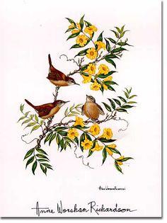 """Carolina Wren with Yellow Jessamine"", Charleston artist Anne Worsham Richardson"