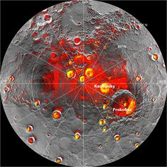 Locations of ice at Mercury's north pole. Red spots show permanently shadowed (and therefore cold) spots at Mercury's north pole, and yellow shows where the radar from Earth indicates ice. Image credit: NASA/Johns Hopkins University Applied Physics Laboratory/Carnegie Institution of Washington/National Astronomy and Ionosphere Center, Arecibo Observatory