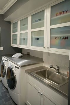 White Glass tile in Laundry room #laundrytime #laundryrooms