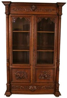 Antique and Vintage French Bookcase Product DetailsDimensions (inches):90H x 57W x 21.50DComment:Stunning sculptural carvings make this antique French bookcase a beautiful choice for any home and espe
