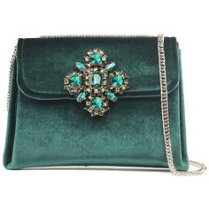 Alberta Tanzini Couture Embellished Velvet Cross-Body Bag ($68) ❤ liked on Polyvore featuring bags, handbags, shoulder bags, verde, velvet handbag, embellished handbags, velvet shoulder bag, couture handbags and green crossbody