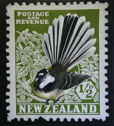 Fantail Stamp by Jane Crisp - Art Prints New Zealand New Zealand Art, Nz Art, Postage Stamp Art, Kiwiana, Wall Art For Sale, Small Art, Stamp Collecting, Bird Art, Poster