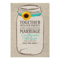Rustic Sunflower & Mason Jar Wedding Invitation