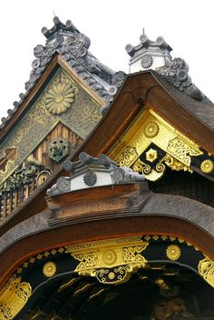 """japaneseaesthetics: """" The Imperial Badge, Kyoto, Japan ~ this is roof of Nijo castle, in Kyoto. It was the residence of the Tokugawa shoguns when they visited from their own capital in Edo (Tokyo). This imperial crest suplanted the Tokugawa crest as..."""