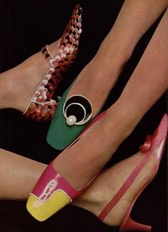 Shoes, 1966. From left to right: Christian Dior, Charles Jourdan, Charles Jourdan, Roger Vivier. #shoeswoon