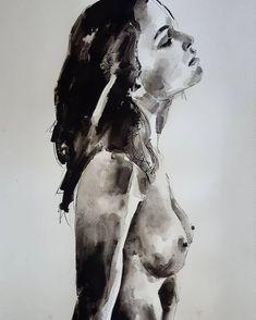 Female portrait/torso study in ink washes on paper #fineart #drawings #illustration #contemporaryart #fashion #portrait #figurestudy…