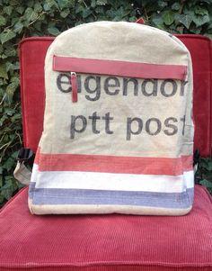Rugzak oude postzak gemaakt door stap-tas