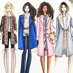 Obsessed with my new pink coat from @talbotsofficial -- Holly Nichols Illustration