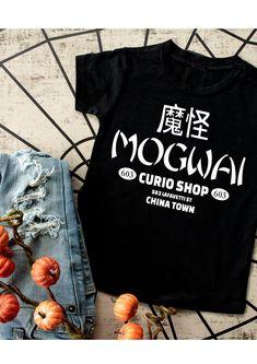 Mogwai curio shop tshirt/ 80's movie tshirt/ gremlins tshirt/ womens mens funny tshirt - S / white shirt w/ black