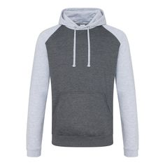 Just Hoods JH009 Charcoal and Heather Grey Baseball Hoodie - £15.75