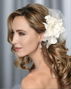 hair jewelry acessories - A match made in heaven! 2018 Bel Aire Bridal Headpiece 6322 - Floral Clip with Rhinestone. Shop our 2018 Bel Aire Bridal collection now at Bella Mera Bridal. Bridal Hair Down, Wedding Hair Down, Wedding Hair Pieces, Wedding Hair And Makeup, Wedding Veils, Snow Wedding, Bridal Makeup, Wedding Flowers, Dream Wedding