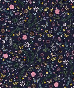 Estampa têxtil 'Flores, lavanda, alecrim' por Ana Isa Zanesco