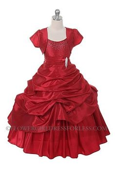 New Red Flower Girls Princess Style Dress Bolero Christmas Party Wedding Pageant Red Flower Girl Dresses, Baby Girl Dresses, Girl Outfits, Flower Girls, Dresses For Less, Dressy Dresses, Dress Casual, Taffeta Dress, Everyday Dresses