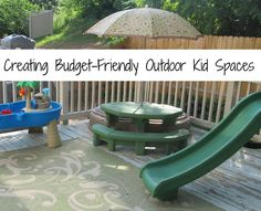 Creating Budget-Friendly Outdoor Kid Spaces_One Artsy Mama_This outdoor space is so AWESOME! I want to get out and play in it. Perfect area for kids to get out to play, and covers all basis.