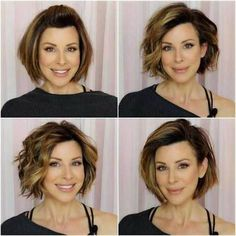 18 Fresh Layered Short Hairstyles for Round Faces - Hair - hair Short Hair Cuts For Round Faces, Bob Hairstyles For Round Face, Blonde Bob Hairstyles, Short Hair With Layers, Short Bob Haircuts, Quick Hairstyles, Ladies Hairstyles, Hairstyles 2018, Layered Short Hair