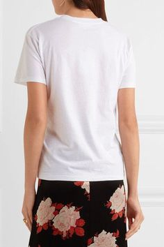 GANNI - Embroidered Cotton-jersey T-shirt - White - x small