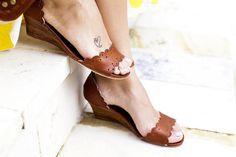 SALE. Sz. 6.5. DREAMLAND. Leather wedges / women shoes /