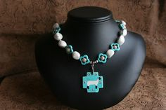 Turquoise and White Suffolk or Hampshire Sheep Necklace. $30.00, via Etsy.