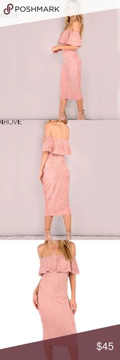 Pink Off The Shoulder Faux Suede Dress Size small. Great for going out and looking elegant and beautiful. Midi dress. Off the shoulder. Pink. Faux Suede. Backless. New With Tags. Smoke free. Dresses Midi