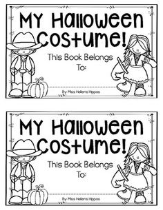 """Enjoy this FREEBIE from Miss Hellen's Hippos, and thank you greatly for taking a moment to rate me! This fun """"My Halloween Costume"""" emergent reade. Teacher Halloween Costumes, Hallowen Costume, Halloween Activities, Holiday Activities, Happy Halloween, Kindergarten Reading, Kindergarten Classroom, Classroom Activities, Speech Activities"""
