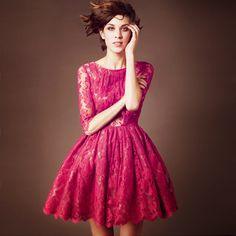 gorgeous lace dress. vibrant color + vintage styling + lace + volume