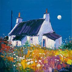 Croft and Moon, Isle of Gigha (Limited Edition Print) by John Lowrie Morrison Landscape Art, Landscape Paintings, Landscapes, Cottage Art, Naive Art, Painting Techniques, Painting Inspiration, Framed Art Prints, Watercolor Paintings