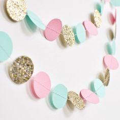 Paper Garland Pink Mint and Gold Birthday by DesignElementsByErin