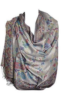 c8672862c8f8 Floral Motif Cachemire Chaude Ethnique Pashmina Touché Enveloppant Écharpe  Châle Stole Hijab - Beige  Amazon.fr  Vêtements et accessoires