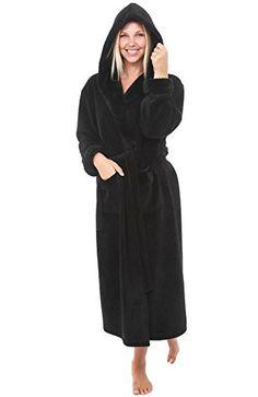 25d54227c2 Alexander Del Rossa Womens Fleece Robe Long Hooded Bathrobe Small Medium  Black  fashion  clothing