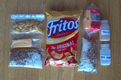 Dinner Recipe: Beans + Rice with Fritos & Cheese - Recommended packaging system. For solo hikers, the left three bags. For groups, everything to the r - Hiking Food, Backpacking Food, Hiking Tips, Backpacking Checklist, Ultralight Backpacking, Hiking Gear, Camping Dishes, Camping Meals, Camping Recipes
