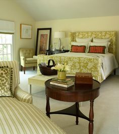 Two patterns: Adding patterns to a space is the simplest way to make it more interesting. In this picture, the two patterns (stripes and floral) where specifically matched together. The end effect is appealing to the eye.
