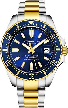 772a20b6ccaa Amazon.com  Stuhrling Original Mens Watch - Gold Tone and Stainless Steel  Bracelet Blue