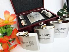 Set of 4 Groomsmen Gift Set in 4 designs, Groomsman Flask Gift Set, Groomsman Gift Box with Flask, Wedding Gift Box, Bachelor Party Gift Set