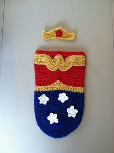 Ravelry: Wonder Woman Baby Cocoon set pattern by Samantha Oravec $4 crochet pattern