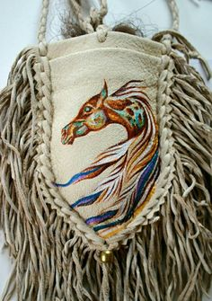 Native Horse Painting Deerskin Leather Me Native Beadwork, Native American Beadwork, Leather Pouch, Leather Purses, Boho Hippie, Native American Decor, Native American Medicine Bag, Nativity Crafts, Beaded Bags