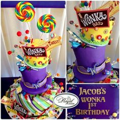 Wonka World Whimsical And Yummy Birthday Willy Wonka Cake So Fun ~Wonka World!~ Whimsical and yummy Birthday Willy Wonka cake! Royal Cakes, Crazy Cakes, Willy Wonka, Beautiful Cakes, Amazing Cakes, Wonka Chocolate Factory, Roald Dahl Day, Movie Cakes, Cake Boss