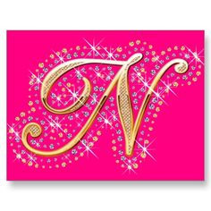 Pink and Elegant Postcard with Initial N