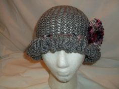 Handmade Crochet Cloche 1920's Flapper Inspired Hat - GRAY with PINK accents - Ruffle Brim - Rose Flower - Winter Beanie - Christmas GREY by MyLifeIsAHighway on Etsy