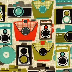 LAMINATED cotton fabric - Retro Cameras jewel (aka oilcloth coated vinyl) WIDE BPA free